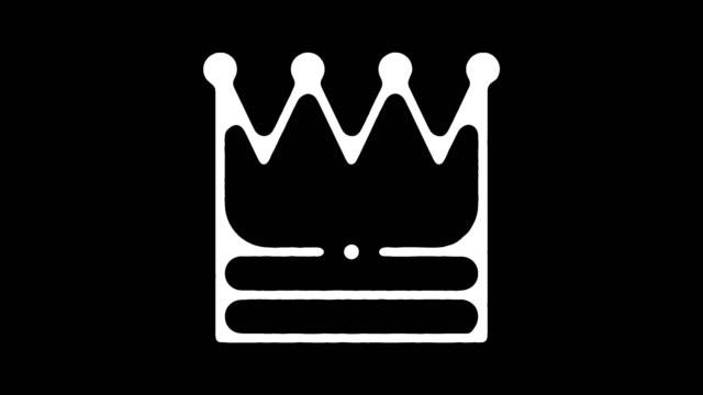 vídeos de stock e filmes b-roll de business authority line icon animation with alpha - coroa