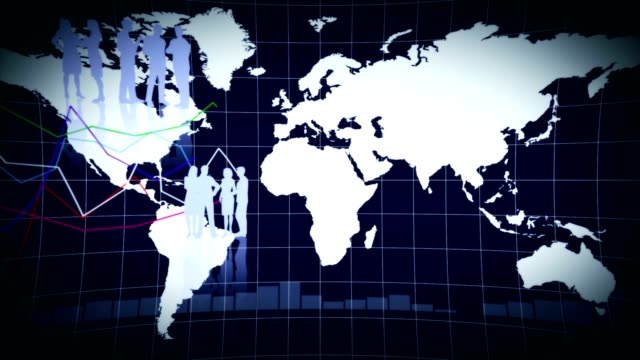 Business Background, Earth and Graphs, Animation, Rendering, Loop video
