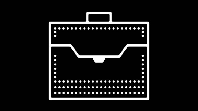 Business Briefcase Line Icon Animation with Alpha