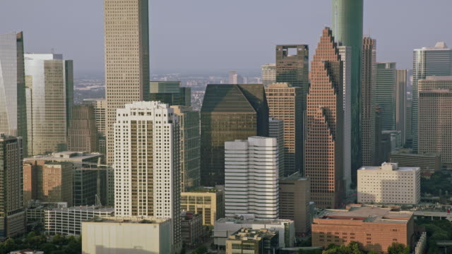 AERIAL Business building of the Downtown Houston, Texas video