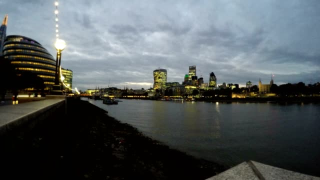 Business Buildings and Thames River, London, Uk, Time Lapse video