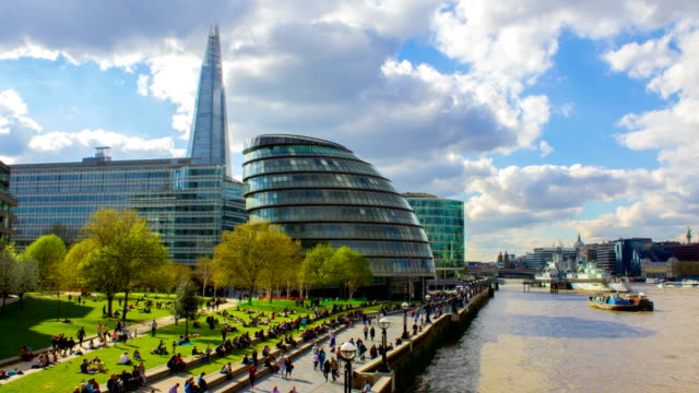 Business Buildings and Thames River, London video