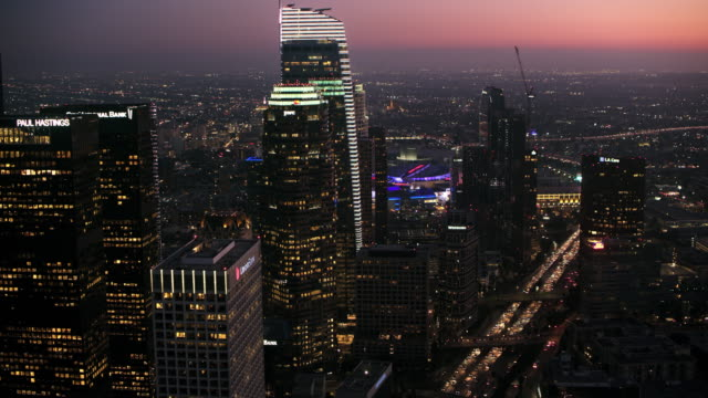 AERIAL Business buildings of the Downtown LA at night