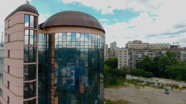 business center from aerial view - quartiere generale video stock e b–roll