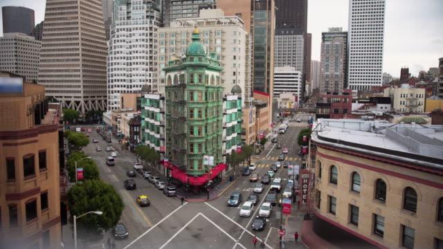 비즈니스 센터 샌프란시스코. 공중 보기. - 도시 거리 스톡 비디오 및 b-롤 화면