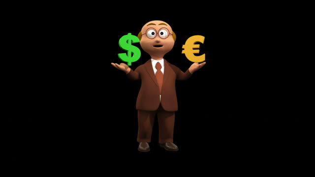 Business Character Compares Dollar With Euro - Alpha video