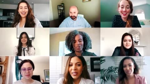 Business colleagues participate in virtual staff meeting A diverse group of colleagues participate in a virtual staff meeting via video conference. The colleagues are working from their homes during the COVID-19 pandemic. grid pattern stock videos & royalty-free footage