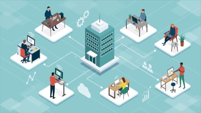 Business company managing telework online