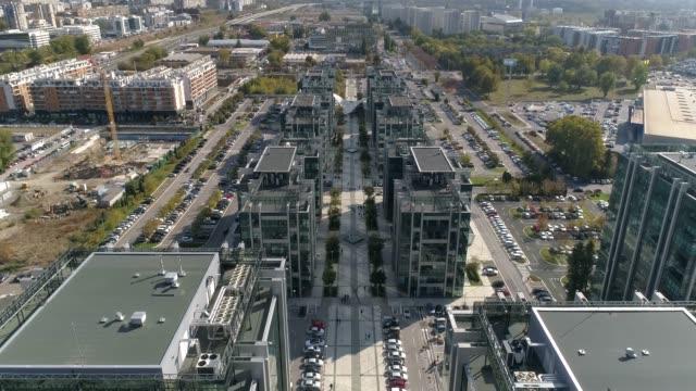 business complex, green mirrored windows,  aerial shot high angle. 02 - quartiere generale video stock e b–roll