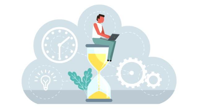 Business concept Animation Stick Figure Color Pictogram Man Character Deadline Computer Work