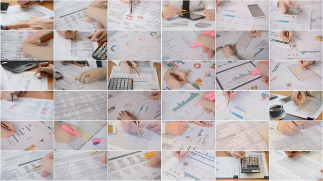 Business concept, financial report in a company being checked by an auditor video