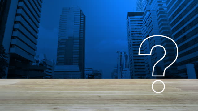 Business customer support concept Question mark sign flat icon over modern office city tower and skyscraper, Business customer support concept faq stock videos & royalty-free footage
