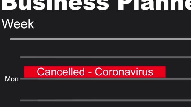 business diary planner mit abgesagten geschäftsdaten aufgrund der coronavirus-sperre - kalender icon stock-videos und b-roll-filmmaterial