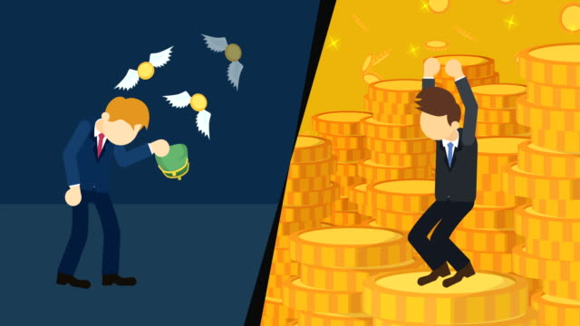 Business difference. Rich man versus poor man. Inequality concept. Loop illustration in flat style. Business loop animation in flat style poverty stock videos & royalty-free footage