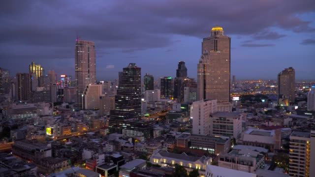 Business district in Bangkok city at twilight