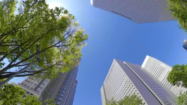 business district skyscrapers / look up at the sky - quartiere generale video stock e b–roll