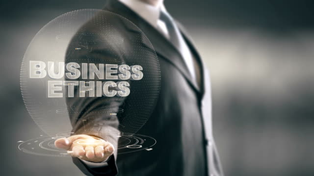 Business Ethics Businessman Holding in Hand New technologies video