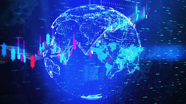 Business Exchange Currency Chart Background 4K World Map