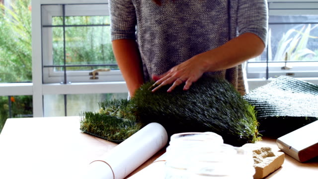 Business executive examining artificial turf video