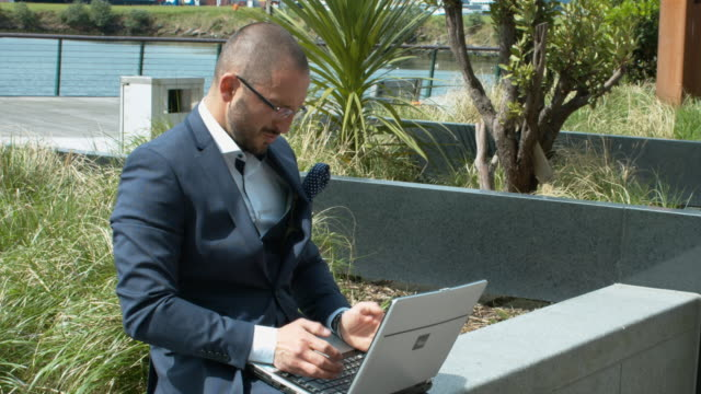 A Business Executive Smashing His Laptop On The Floor video