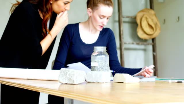 vidéos et rushes de dirigeants d'entreprises discuter au document - pots de bureau