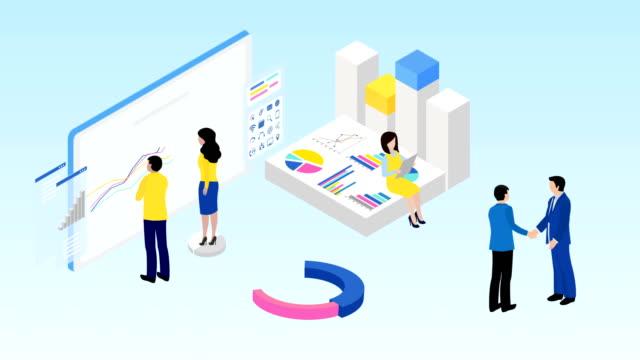 stockvideo's en b-roll-footage met rapporten voor business financial analytics. teamwork. zakelijke samenwerking. b2b. 4k video animatie - isometric