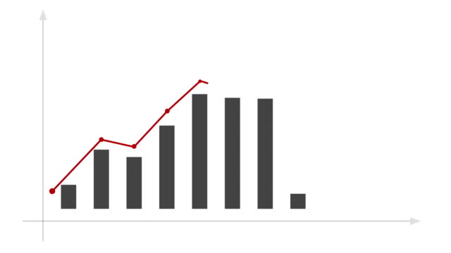 Business graph with arrow, with matte. video
