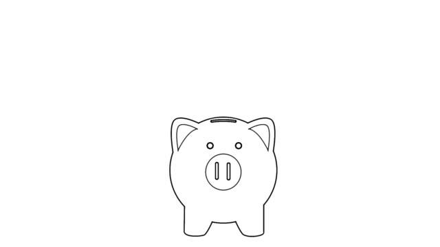 business hand sätta mynt till piggy bank animation i tecknade linjer stil video. pengar att spara rörelse koncept. art of cartoon line spara pengar med piggy bank - animal doodle bildbanksvideor och videomaterial från bakom kulisserna