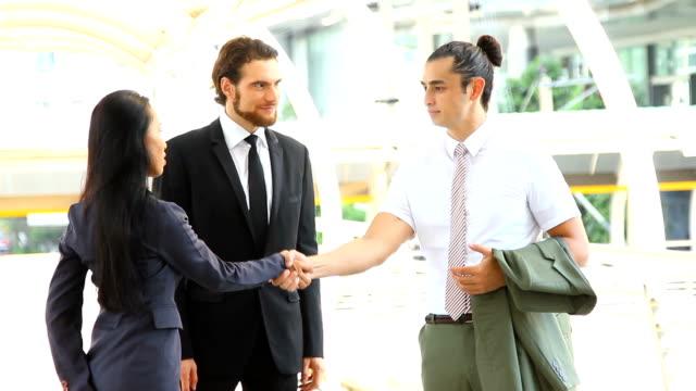 Business handshake agreement for good job.HD format. video
