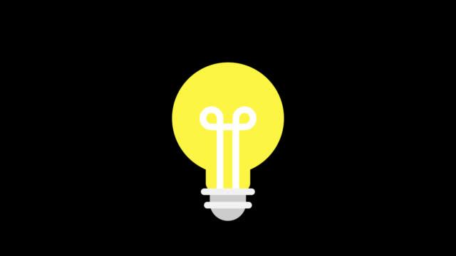 vídeos de stock, filmes e b-roll de lâmpada ícone de negócios. ícones de animação. fundo transparente - lampada