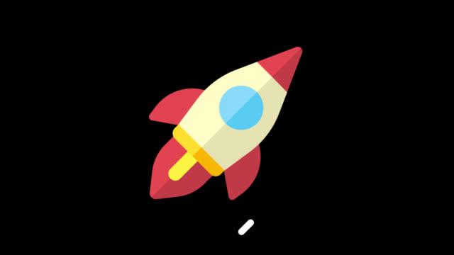 vídeos y material grabado en eventos de stock de iconos de negocios vuelo cohete. iconos de animación. fondo transparente - seo