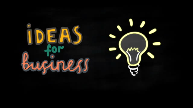 Business Idea concept on black chalkboard video