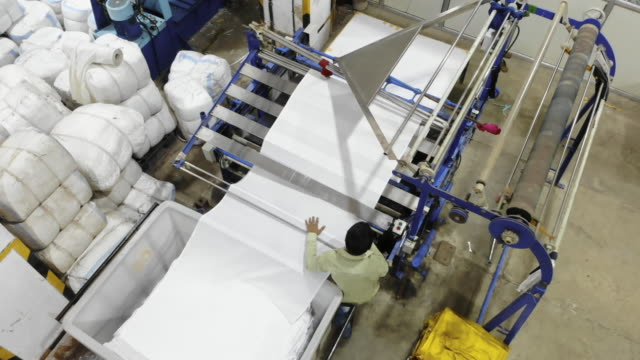 Business in India - Textile Factory Worker operating fully automatic industrial machinery Business, Economy, Employment - Factory worker operating textile manufacturing machinery indian subcontinent ethnicity stock videos & royalty-free footage