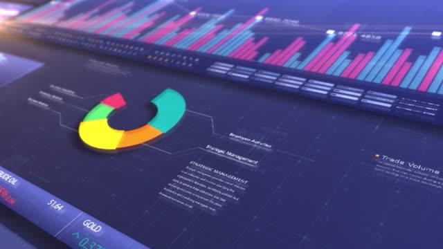 presentazione schermata infografica aziendale - simbolo finanziario video stock e b–roll