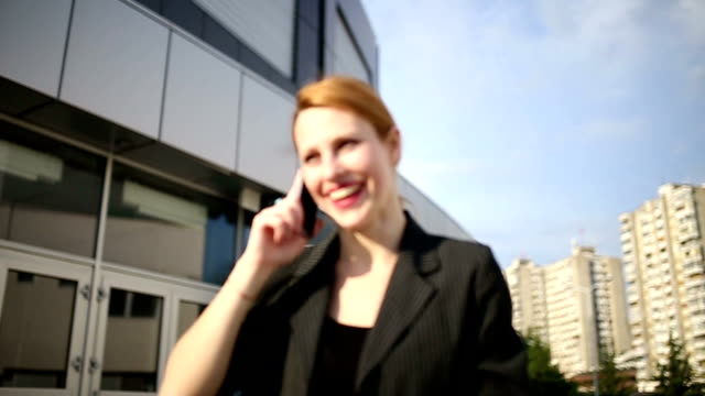 Business lady talking on mobile video
