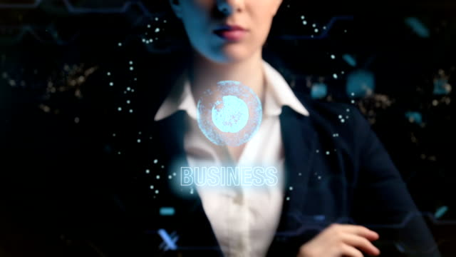 vídeos de stock e filmes b-roll de business logo. futuristic business woman, uses a hologram of the world ball. on night cities, megapolis, world background - business woman hologram