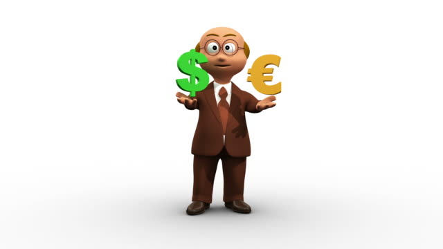 3D Business Man Character Compares Dollar With Euro