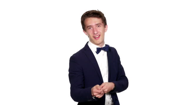 Business man dancing happily with white background video