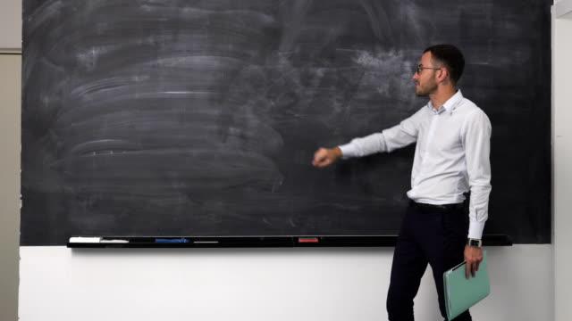Business man explains video