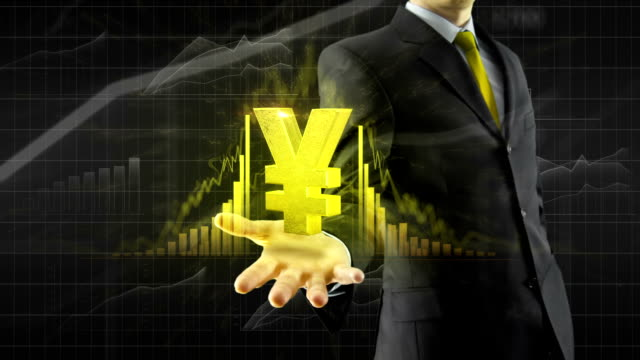 stockvideo's en b-roll-footage met zakenman houden yen yuan aan kant - yenteken