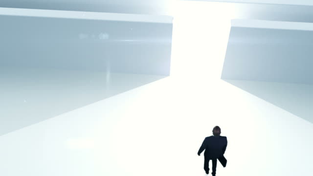 Business man in labyrinth video