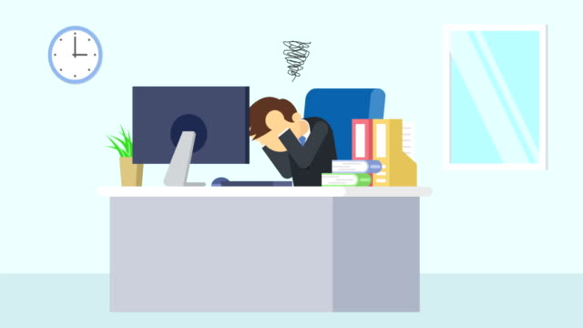 Business man is working. Be troubled. Business emotion concept. Loop illustration in flat style. Business loop animation in flat style office illustrations videos stock videos & royalty-free footage