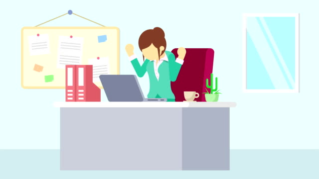 business man is working. feel happiness. business emotion concept. loop illustration in flat style. - характеры стоковые видео и кадры b-roll