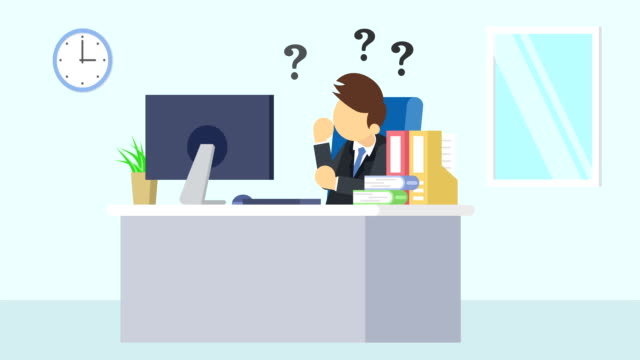 Business man is working. Thinking of troubled. Business emotion concept. Loop illustration in flat style. Business loop animation in flat style office illustrations videos stock videos & royalty-free footage
