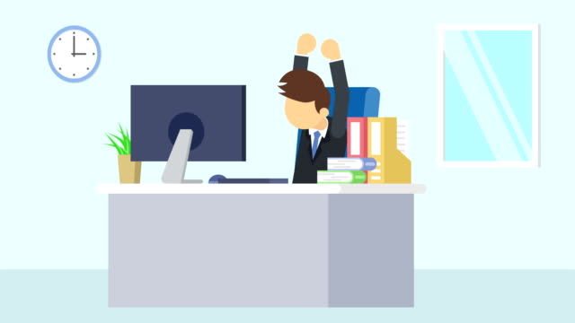business man is working. to stretch. business emotion concept. loop illustration in flat style. - характеры стоковые видео и кадры b-roll