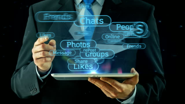 Business man pointing on social media network concept tablet pad video
