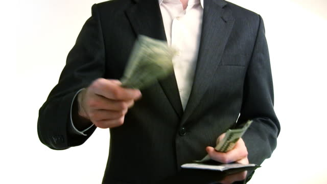 Business Man Spending and Receiving Cash HD  giving stock videos & royalty-free footage