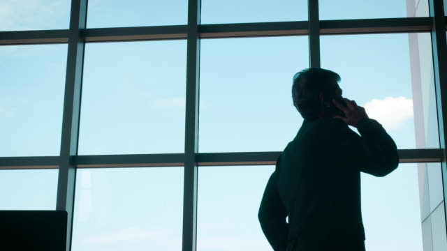 Business man standing and looking out of windows Business man standing and looking out of windows at office ceo stock videos & royalty-free footage