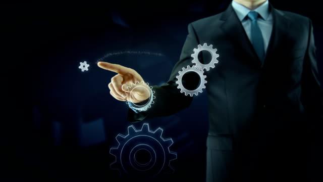 Business man success gear team work concept red video