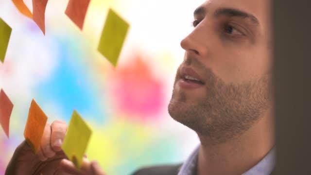 vídeos de stock, filmes e b-roll de homem de negócios, a pensar em novas ideias para seu novo negócio - diagrama